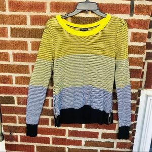 I ❤️ Ronson Color Block Knit Sweater with side Zip